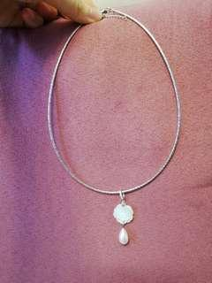 925 silver Mother of pearl rose necklace