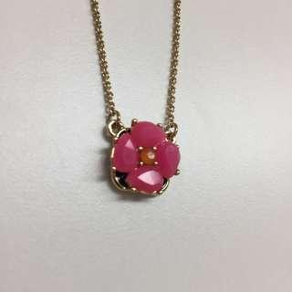 kate spade pink floral necklace 粉紅花石頸鏈
