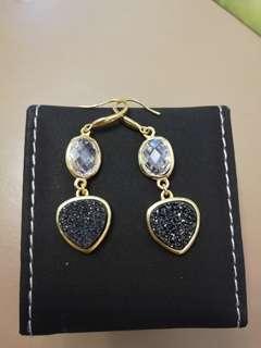 925 silver purple crystal earrings
