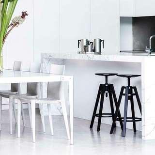 Designer Stainless Steel Black Glass Dining Table, Thomas Jacobsen, RRP $6800