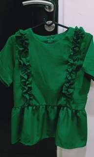 Green ruffles blouse