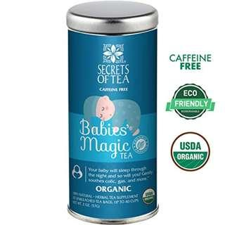 Secrets of Tea Baby Colic Babies' Magic Tea - Organic, Natural, Safe - Calming & Soothing Relief for Baby Acid Reflux, Gas, Colic