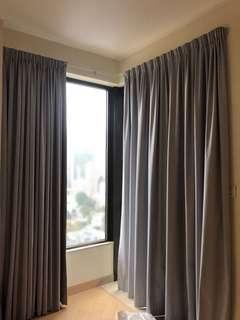 淺灰藍色全身大窗 窗簾 light gray blue curtains