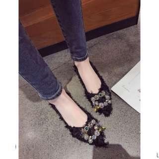 Women Korean Wild Style Buckle Diamond Rhinestone Pointed Flat Shoes [Black/Green]