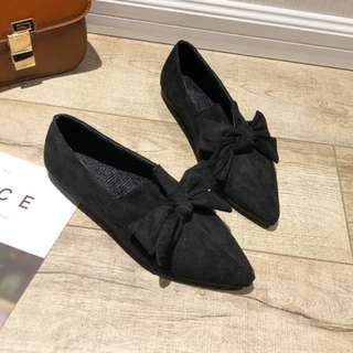 Women Korean Wild Style Casual Suede New Bow Flat Pointed Shoes [Black/Khaki]