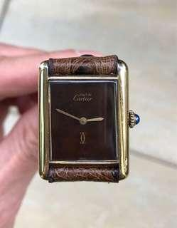 Authentic Classic Must de Cartier Tank Manual wind w/ wood dial ( also have Rolex , Patek, Audemars Piguet AP, Richard Mille, Alden, lewis leathers)