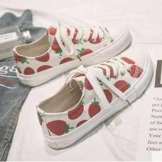 Women Korean Trend Strawberry White Canvas Casual Sneakers [Low/High]