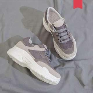 Women Korean Trend Wild Style Muffin Bottom Lace Up Suede Sports Shoes [Gray/Pink]