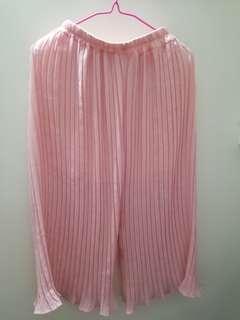 百褶闊腳褲 粉紅色