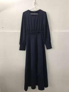 Navy blue satin jubah