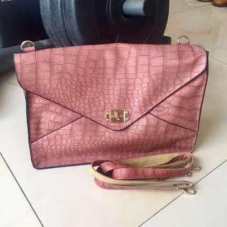 Pink clutch/ sling bag