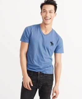 AUTHENTIC NEW A&F MENS V-NECK BIG ICON CREW TEE <<BLUE>>