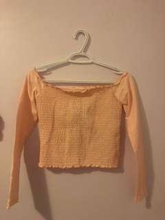 Hollister Baby Pink Off the Shoulder Smocked Crop Top
