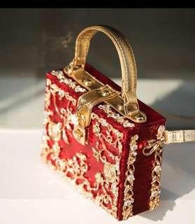 預訂款 復古民族結婚喜慶大紅手袋