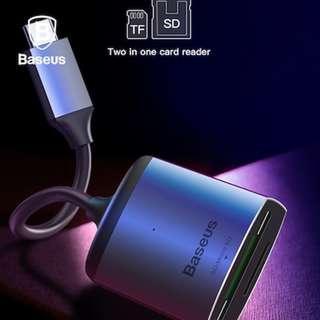 Baseus Enjoy series Type-C to SD/TF card reader HUB adapter Grey