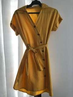 Yellow wrap around dress