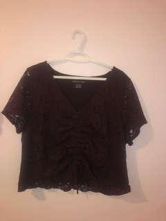 American Eagle Burgundy/Maroon Lace Runched Crop Top