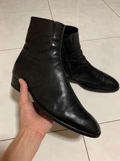 Saint Laurent Metallic Black Wyatt Boots