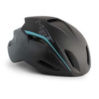MET Manta Road Helmet - Matte Shaded Black / Cyan