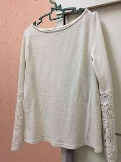 Padini White Top (Lace Sleeve)