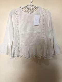 Zara embroidered bell top