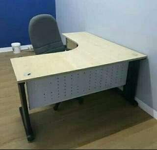 L-Shape Office Table with Cabinet
