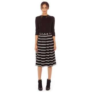 Glassons Black & White Stripe Midi Skirt