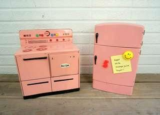 古董粉紅冰箱烤爐鐵器玩具組