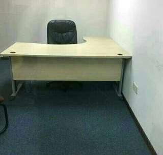 L-Shape Office Table with Pedestal