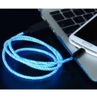 Type C/Lightning/MicroUSB Flowing LED Charging Cable