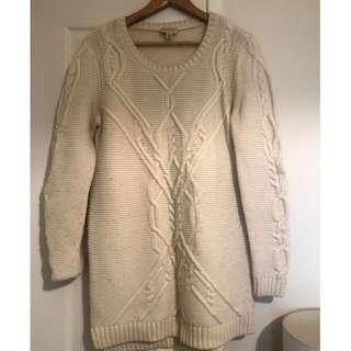Witchery Cable Knit Jumper - White - Size Small