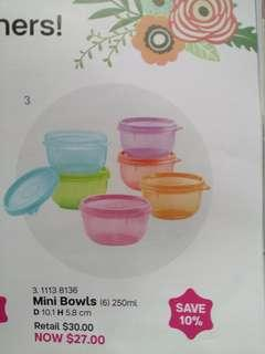BN Tupperware Mini Bowl 250ml Set (6 pc set)