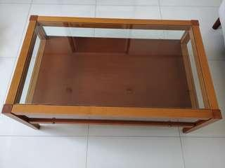 Solid Cherry Wood Glass Coffee Table