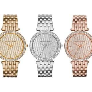 21c572b58ef5 Authentic MK Michael Kors MK3437 MK3438 MK3439 Darci Crystal Pave Dial Stainless  Steel Ladies Watch