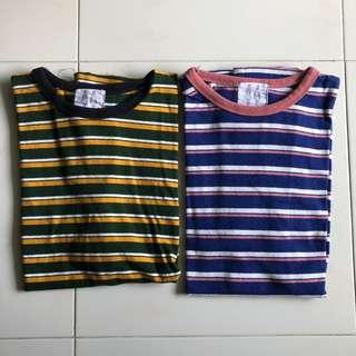 🚚 UNISEX Striped Tees from Korea FREESIZE