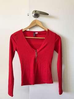 Ring zip up front red long sleeve