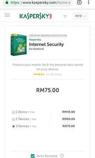 Genuine Kaspersky Internet Security 1pc/ 3 multi device #ssv8