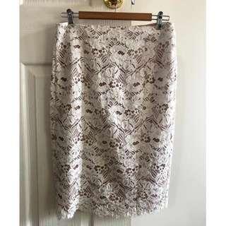 Witchery White Laze Skirt - Size 10