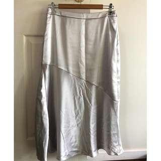 Witchery Silver Satin Skirt - Size 10