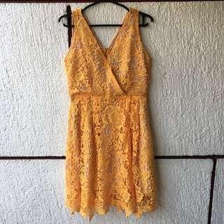Plains and prints yellow dress
