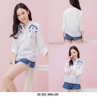 Kemeja white top blouse bordir