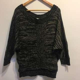 【7成新】寬領混色針織毛衣 可一字領 斜肩 長度可蓋過屁股
