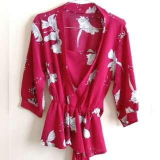 Red fllaminggo blouse