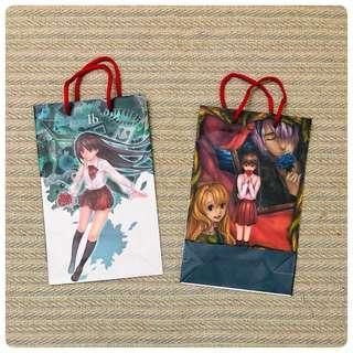 Ib恐怖美術館動畫遊戲 舞會紙袋 防潑水  低調的霧模+IB一定要的紅色提繩  手提袋