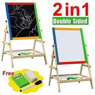 Kid's Wooden 2 In 1 Easel Blackboard