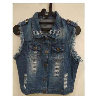 Jeans jacket jaket rompi vest cewek wanita dewasa