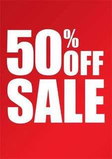 50% OFF ALL ITEMS