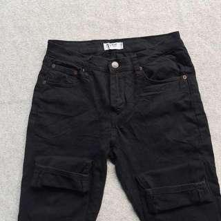 PULL AND BEAR BLACK JEANS SKINNY PANTS STRETCH