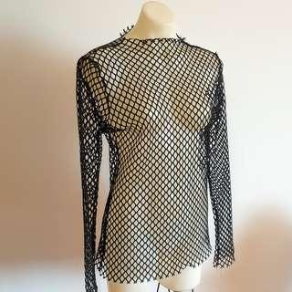 Women's size M/L 'ELLI WHITE' Gorgeous black sheer fishnet long sleeved top - AS NEW