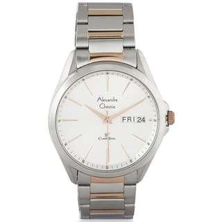 🚚 8592MEBTRSL Brand New Alexandre Christie Classic Steel Quartz 30M Analog 100% Original Silver Dial Day Date Male Casual Watch w/ Warranty